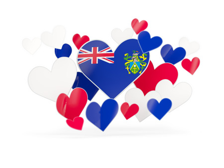 pitcairn: Flag of pitcairn islands, heart shaped stickers on white. 3D illustration