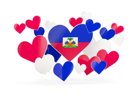 Flag of haiti, heart shaped stickers on white. 3D illustration Stock Photo