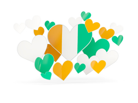 Flag of cote d Ivoire, heart shaped stickers on white. 3D illustration