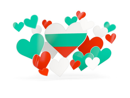 Flag of bulgaria, heart shaped stickers on white. 3D illustration Stock Photo
