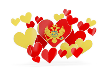 Flag of montenegro, heart shaped stickers on white. 3D illustration Stock Photo