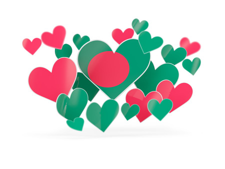 Flag of bangladesh, heart shaped stickers on white. 3D illustration