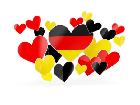 deutschland: Flag of germany, heart shaped stickers on white. 3D illustration