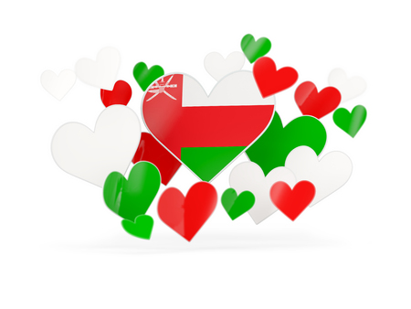 Flag of oman, heart shaped stickers on white. 3D illustration Stock Photo