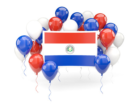 bandera de paraguay: Flag of paraguay, with balloons isolated on white. 3D illustration