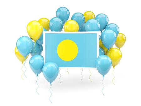 palau: Flag of palau, with balloons isolated on white. 3D illustration