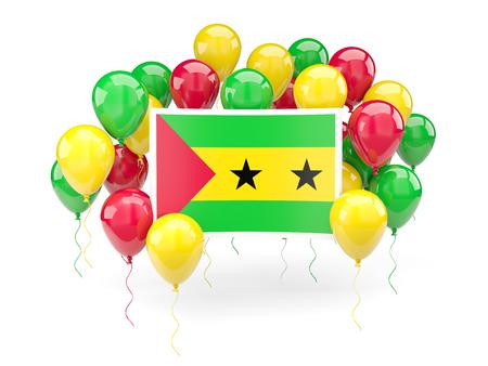 principe: Bandera de Santo Tomé y Príncipe, con los globos aislados en blanco. ilustración 3D
