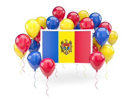 Flag of moldova, with balloons isolated on white. 3D illustration