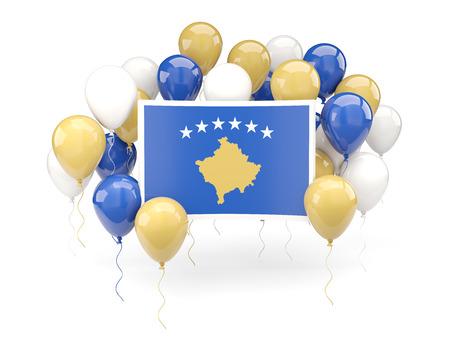 kosovo: Flag of kosovo, with balloons isolated on white. 3D illustration