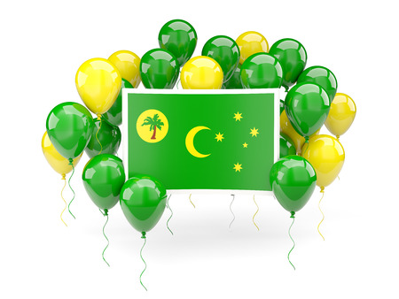 Flag of cocos islands, with balloons isolated on white. 3D illustration
