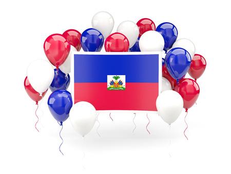 haiti: Flag of haiti, with balloons isolated on white. 3D illustration Stock Photo