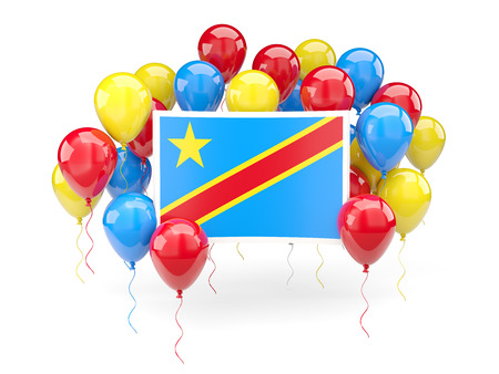 Flag of democratic republic of the congo, with balloons isolated on white. 3D illustration
