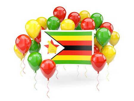 zimbabwe: Flag of zimbabwe, with balloons isolated on white. 3D illustration Stock Photo
