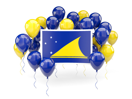Flag of tokelau, with balloons isolated on white. 3D illustration