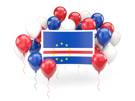 verde: Flag of cape verde, with balloons isolated on white. 3D illustration
