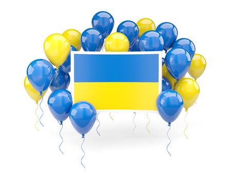 ukraine: Flag of ukraine, with balloons isolated on white. 3D illustration