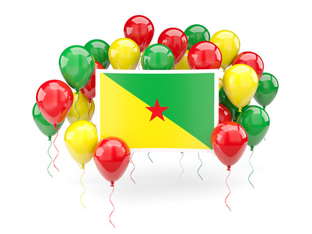 Flag of french guiana, with balloons isolated on white. 3D illustration Stock Photo