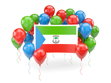 Flag of equatorial guinea, with balloons isolated on white. 3D illustration