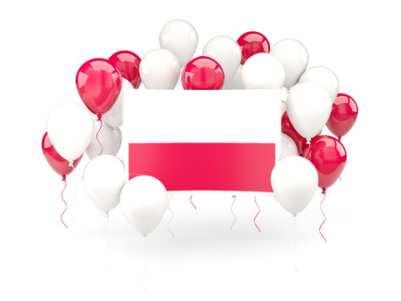 bandera de polonia: Flag of poland, with balloons isolated on white. 3D illustration Foto de archivo