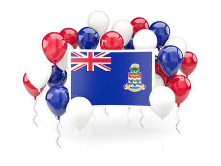 cayman islands: Flag of cayman islands, with balloons isolated on white. 3D illustration