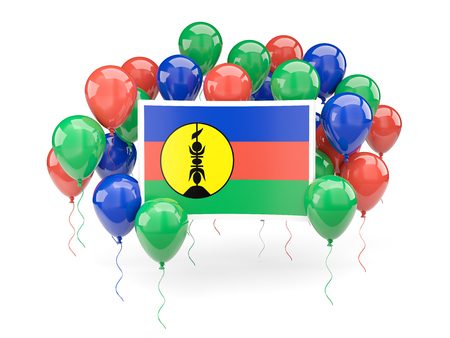 Flag of new caledonia, with balloons isolated on white. 3D illustration