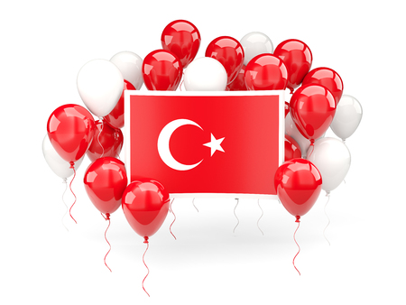 Flag of turkey, with balloons isolated on white. 3D illustration Stock Photo