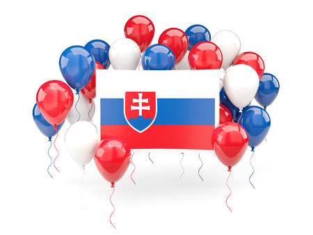 Flag of slovakia, with balloons isolated on white. 3D illustration