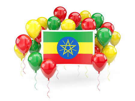 national flag ethiopia: Flag of ethiopia, with balloons isolated on white. 3D illustration