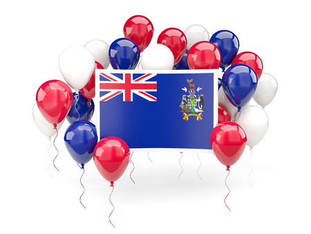 Flag of south georgia and the south sandwich islands, with balloons isolated on white. 3D illustration