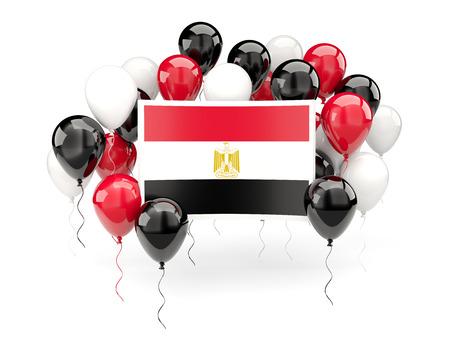 bandera de egipto: Bandera de Egipto, con globos aislados en blanco. Ilustración 3D