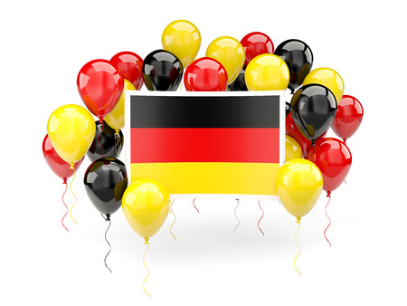 Flag of germany, with balloons isolated on white. 3D illustration