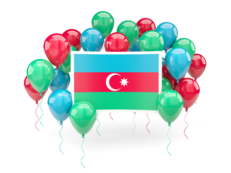 Flag of azerbaijan, with balloons isolated on white. 3D illustration