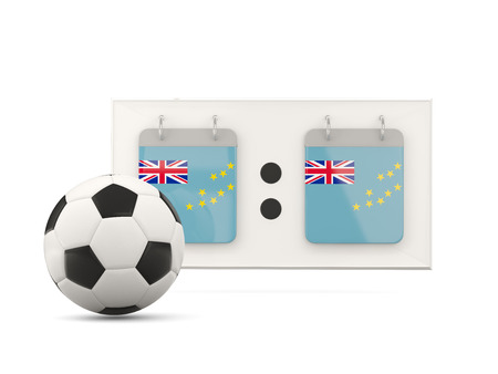 national team: Flag of tuvalu, football with scoreboard and national team flag. 3D illustration Stock Photo