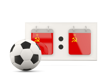 national team: Flag of ussr, football with scoreboard and national team flag. 3D illustration