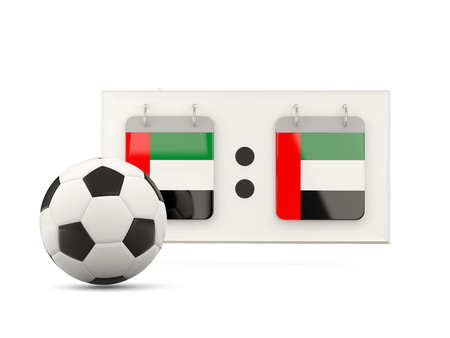 national team: Flag of united arab emirates, football with scoreboard and national team flag. 3D illustration