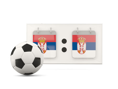 national team: Flag of serbia, football with scoreboard and national team flag. 3D illustration