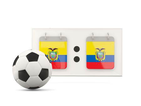 national team: Flag of ecuador, football with scoreboard and national team flag. 3D illustration Stock Photo