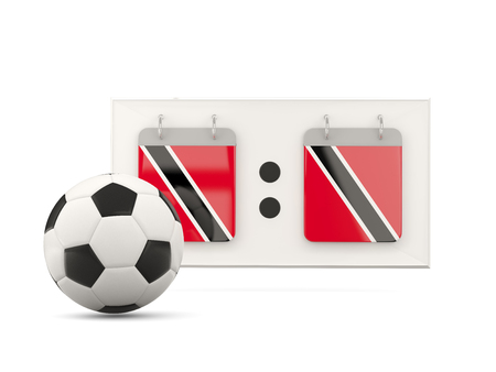 Flag of trinidad and tobago, football with scoreboard and national team flag. 3D illustration