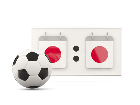 national team: Flag of japan, football with scoreboard and national team flag. 3D illustration Stock Photo