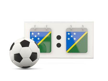 national team: Flag of solomon islands, football with scoreboard and national team flag. 3D illustration