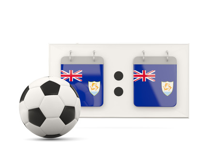 anguilla: Flag of anguilla, football with scoreboard and national team flag. 3D illustration