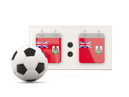 national team: Flag of bermuda, football with scoreboard and national team flag. 3D illustration Stock Photo