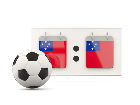 national team: Flag of samoa, football with scoreboard and national team flag. 3D illustration