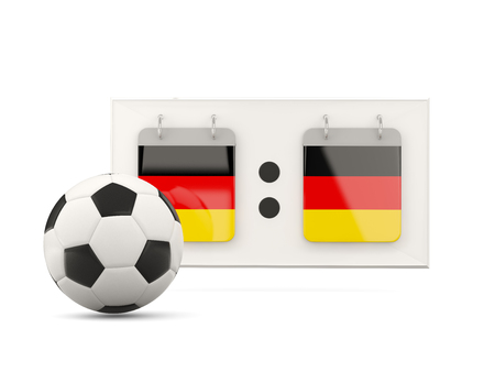 national team: Flag of germany, football with scoreboard and national team flag. 3D illustration Stock Photo