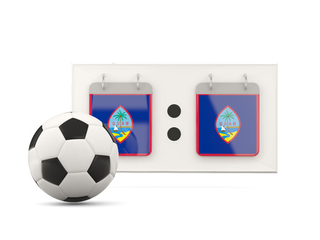 national team: Flag of guam, football with scoreboard and national team flag. 3D illustration