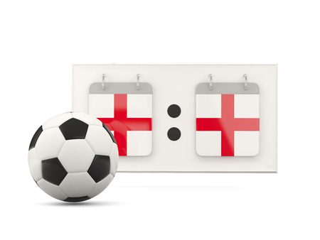 national team: Flag of england, football with scoreboard and national team flag. 3D illustration Stock Photo