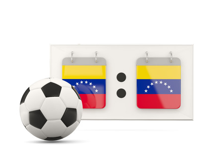 national team: Flag of venezuela, football with scoreboard and national team flag. 3D illustration