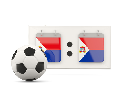 national team: Flag of sint maarten, football with scoreboard and national team flag. 3D illustration Stock Photo