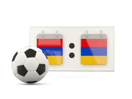 national team: Flag of armenia, football with scoreboard and national team flag. 3D illustration Stock Photo