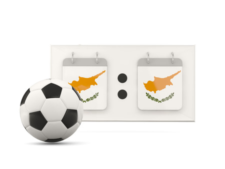 national team: Flag of cyprus, football with scoreboard and national team flag. 3D illustration